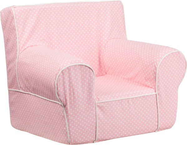 Flash Furniture dg-ch-kid-dot-pk-gg Small Light Pink Dot Kids Chair with White Piping