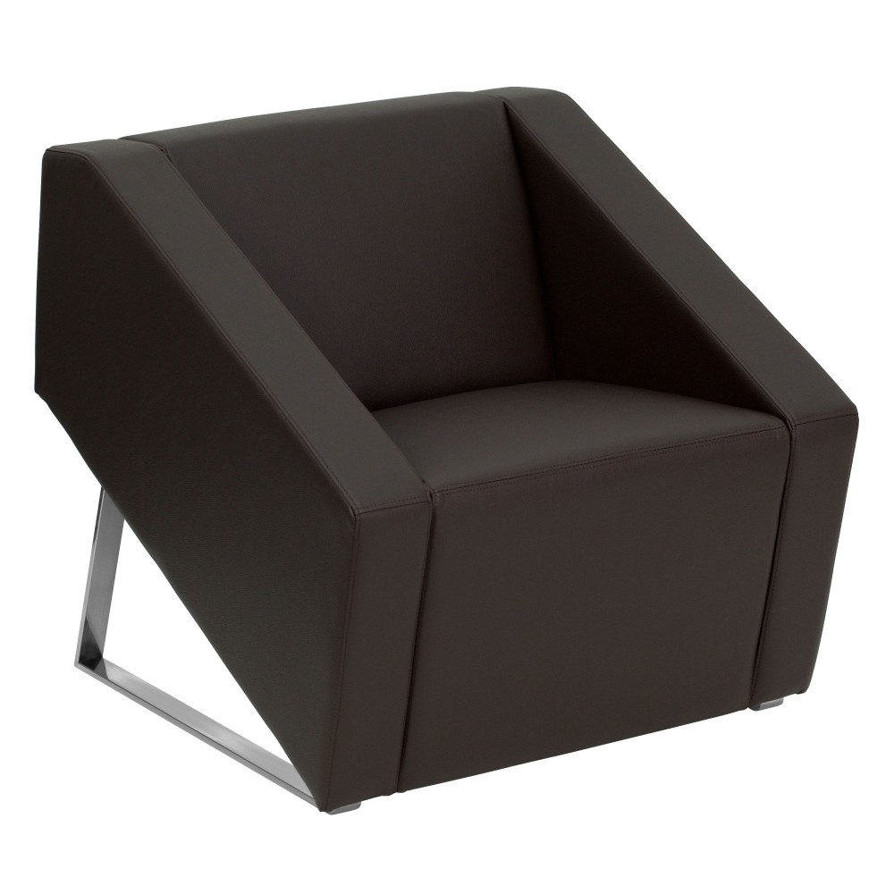 Smart Series Brown Leather Reception Chair