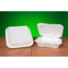 Snap-It Vented Foam Hinged Container, White, 9-1/4 x 9-1/4 x 3, 100/Bag
