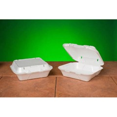 Snap-It Vented Foam Hinged Container, White, 8-1/4 x 8 x 3, 100/Bag