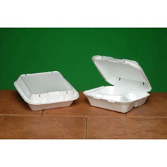 Snap-It Vented Foam Hinged Container, 3-Comp, White, 8 1/4x8x3, 100/Bag
