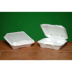 Snap-it Vented Foam Hinged Container, 3-Comp, White, 9-1/4 x 9-1/4 x 3, 100/Bag