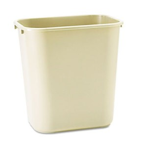 Soft Molded Plastic Wastebasket, Rectangular, 7 gal, Beige
