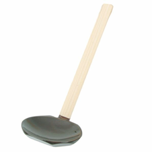"Thunder Group 30-29 Bamboo Soup Serving Spoon 7-1/2"" L"