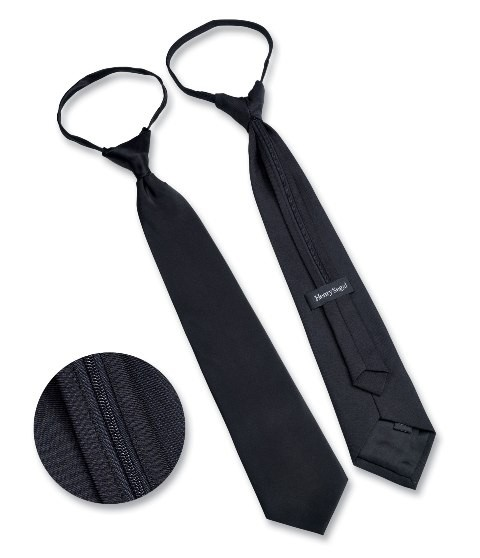 Henry Segal STR-Z Solid Black Poly Satin Pre-Knotted Straight Zipper Tie