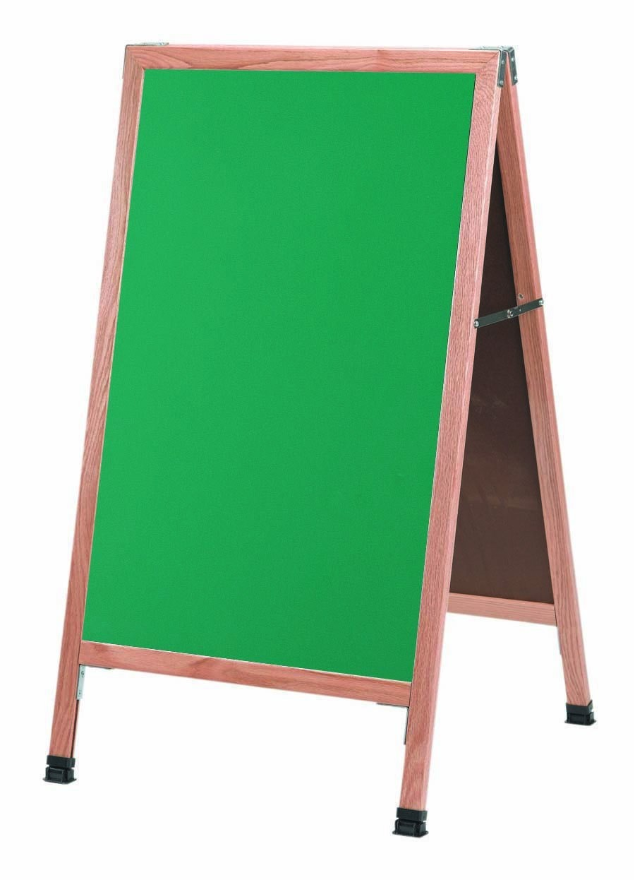 "Aarco Products A-1G Solid Oak Wood A-Frame Sidewalk Green Composition Chalkboard- 42""H x 24""W"