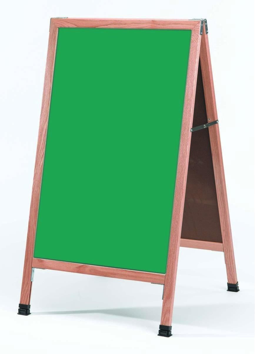 "Aarco Products A-1SG Solid Oak Wood A-Frame Sidewalk Green Porcelain Chalkboard- 24""W x 42""H"