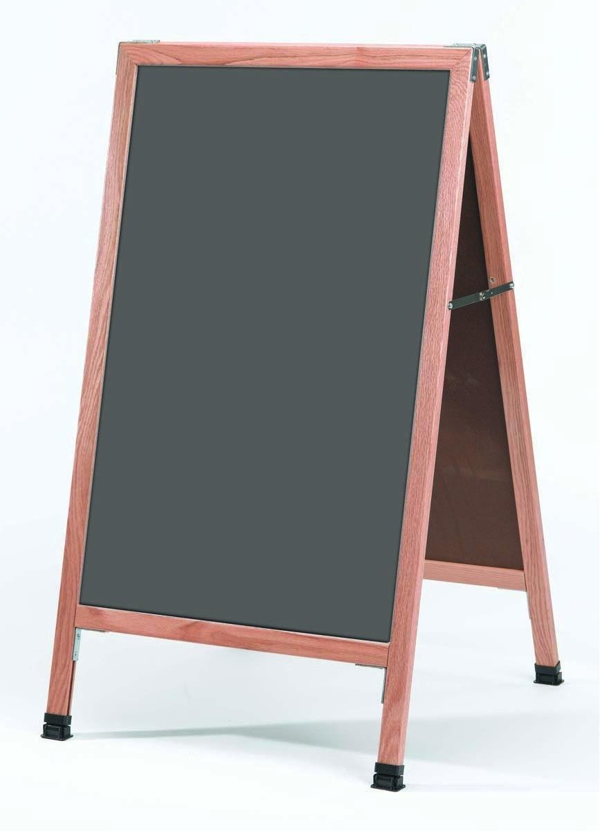 """Aarco Products A-1SS Solid Oak Wood A-Frame Sidewalk Slate Porcelain Chalkboard- 42""""H x 24""""W"""