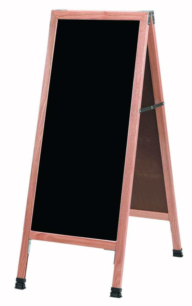 Solid Oak Wood A-Frame Sidewalk Black Porcelain Markerboard- 42