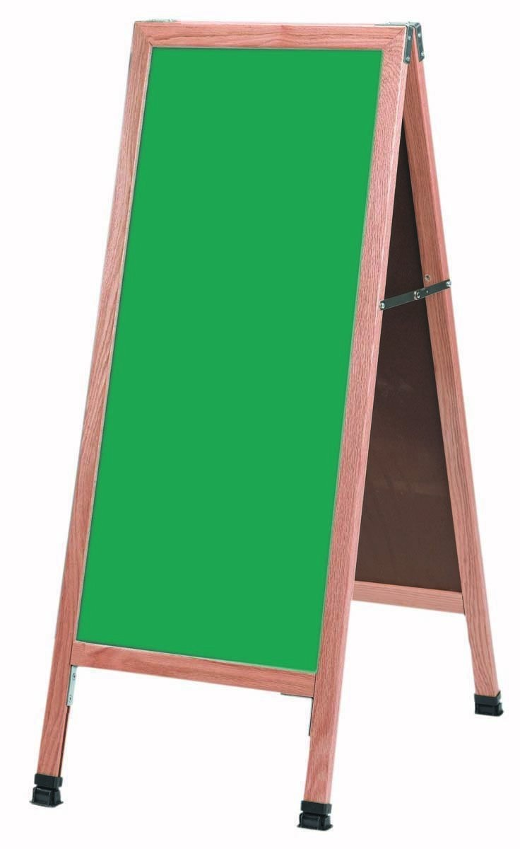 "Aarco Products A-311SG Solid Oak Wood A-Frame Sidewalk Green Porcelain Chalkboard- 42""H x 18""W"