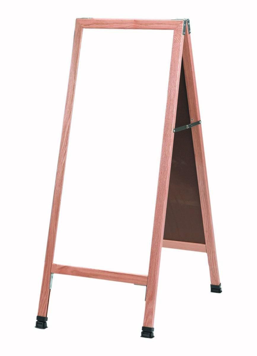 """Aarco Products A-311SW Solid Oak Wood A-Frame Sidewalk White Porcelain Marker board-18""""W x  42""""H"""