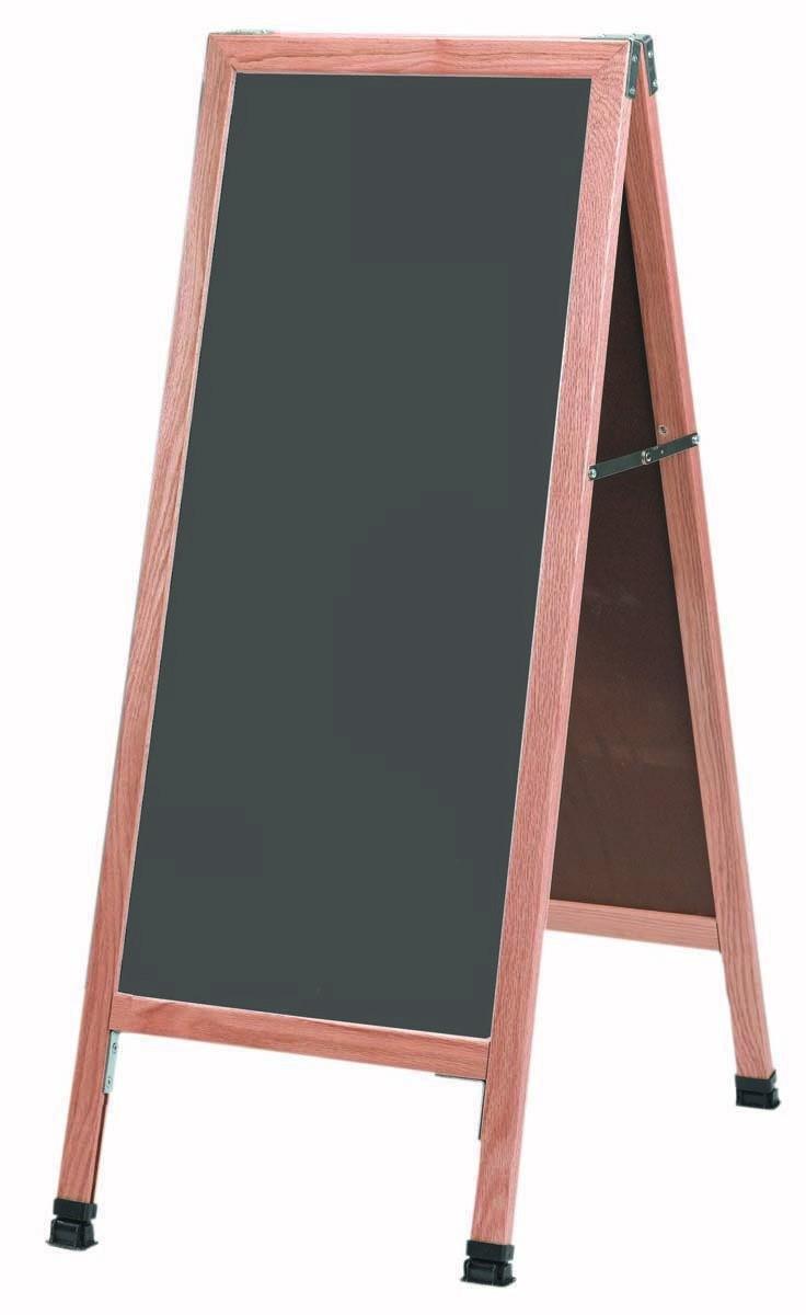 """Aarco Products A-35SS Solid Oak Wood A-Frame Sidewalk Slate Porcelain Chalkboard- 42""""H x 18""""W"""