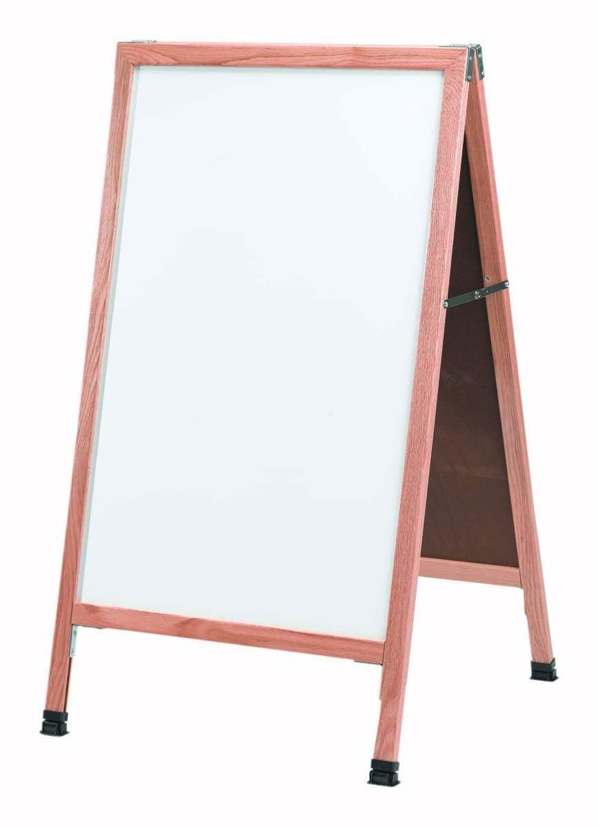 "Aarco Products A-5SW Solid Oak Wood A-Frame Sidewalk White Porcelain Markerboard- 42""H x 24""W"