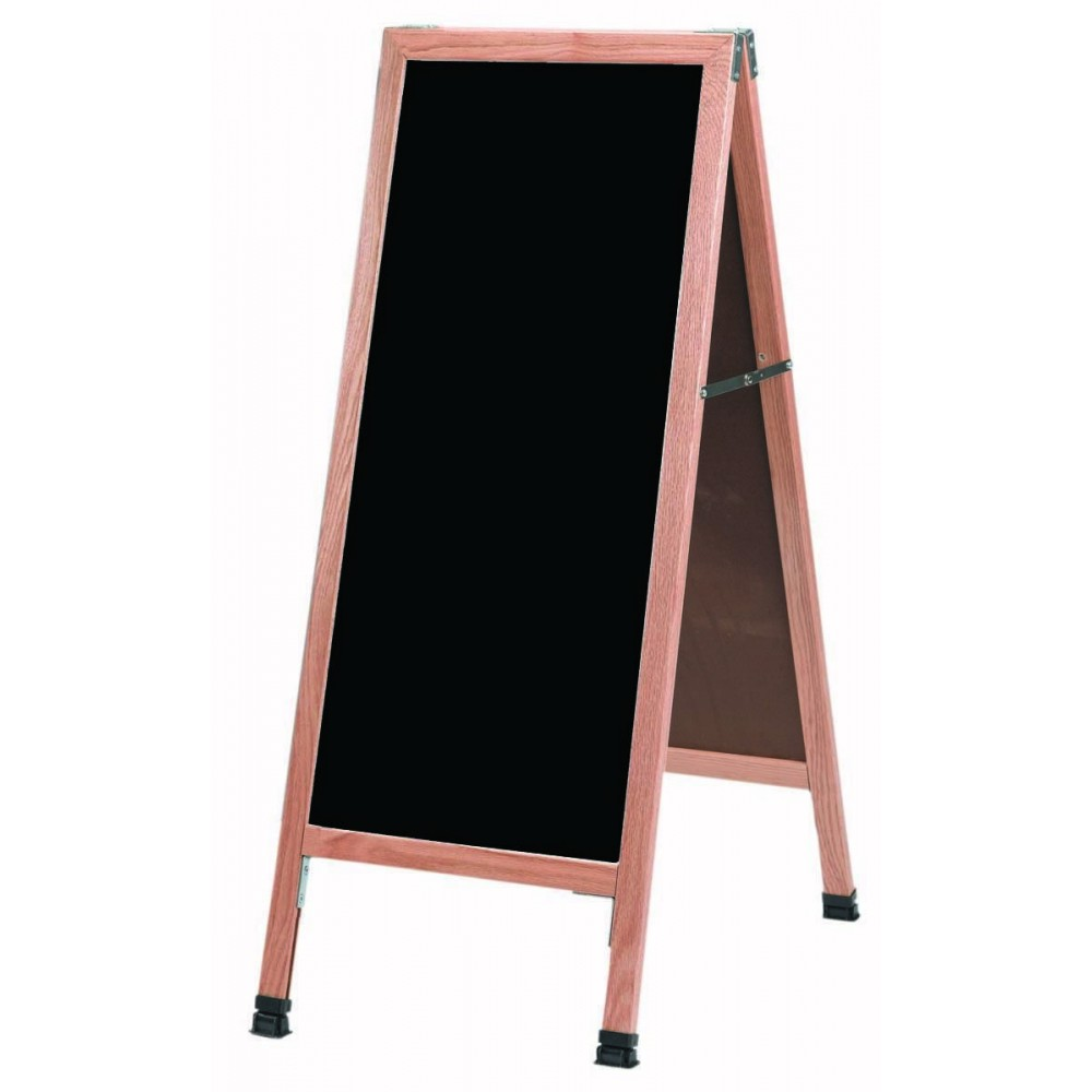 Solid Oak Wood A-Frame Sidewalk Black Composition Chalkboard- 42