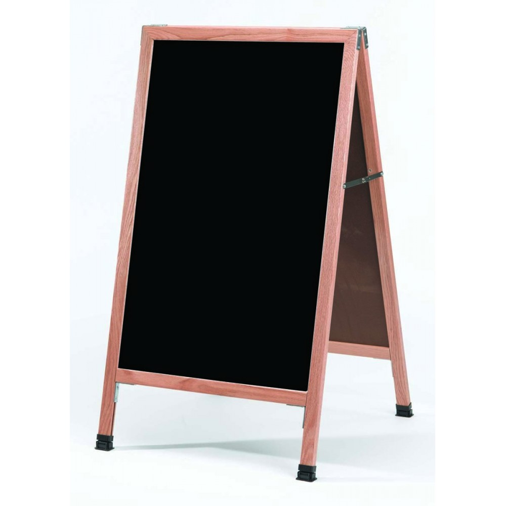 Solid Oak Wood A-Frame Sidewalk Black Porcelain Markerboard- 42
