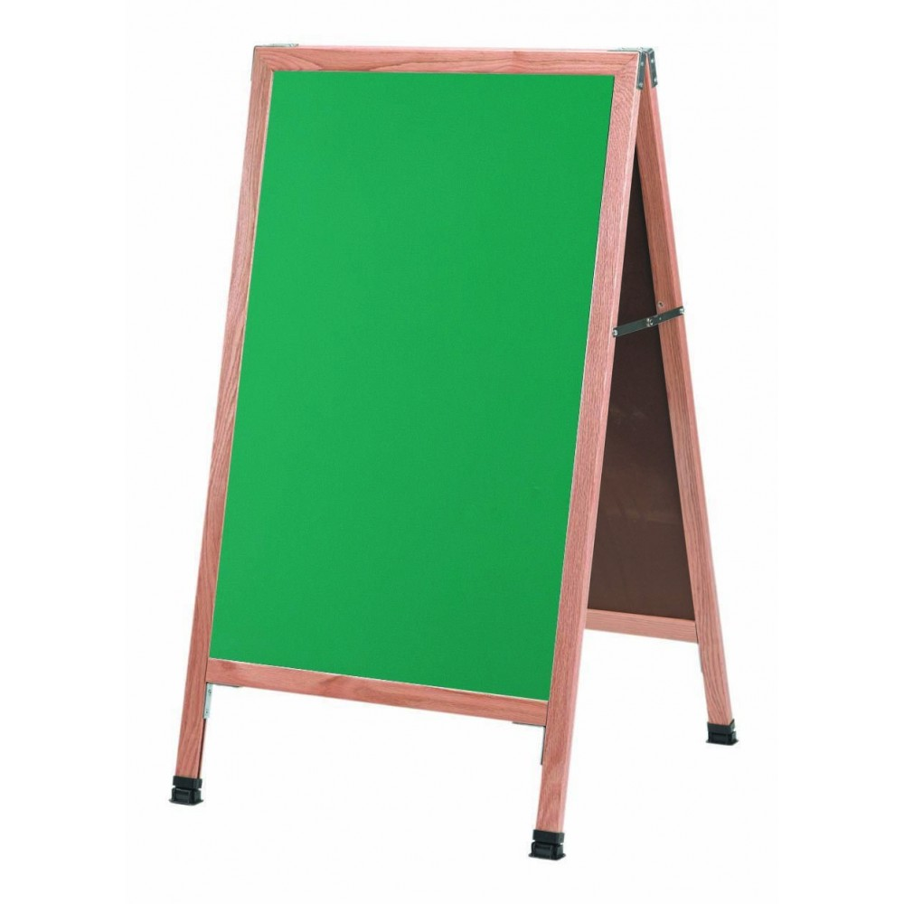 Solid Oak Wood A-Frame Sidewalk Green Composition Chalkboard- 42