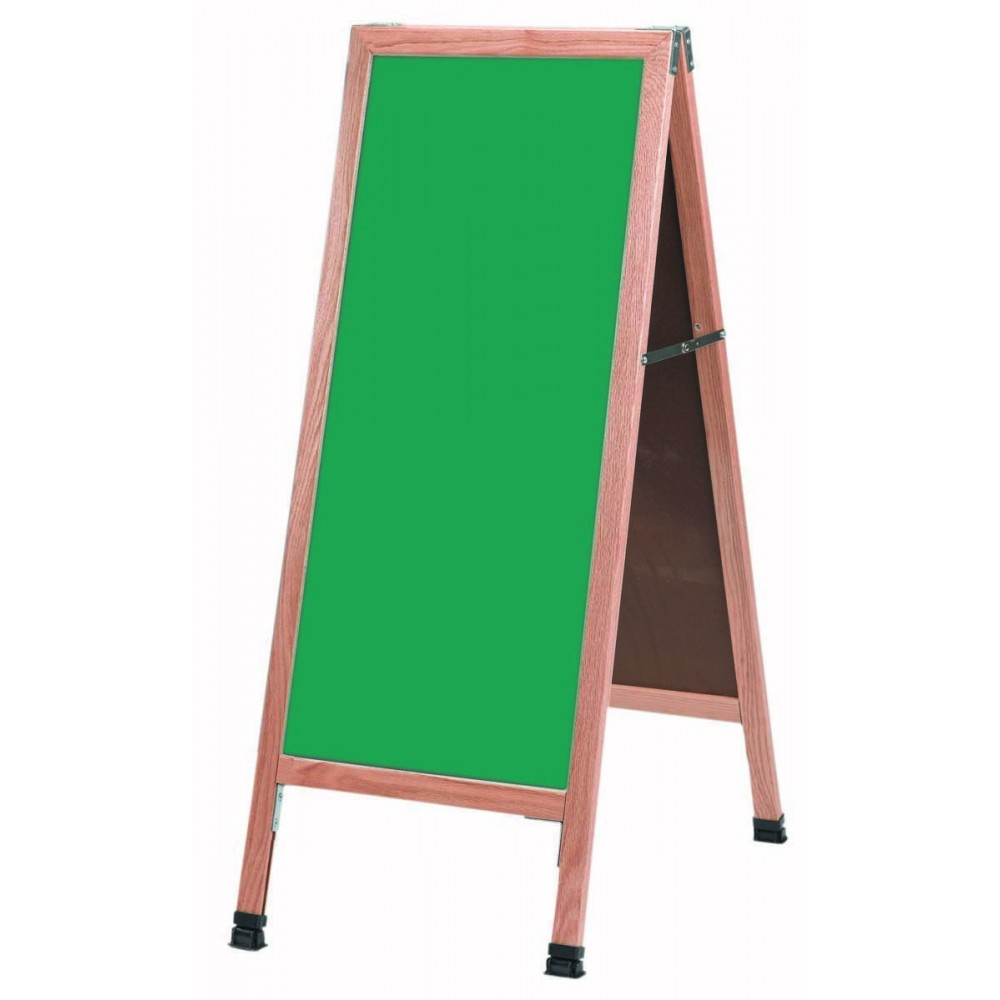 "Aarco Products A-3G Solid Oak Wood A-Frame Sidewalk Green Composition Chalkboard- 42""H x 18""W"