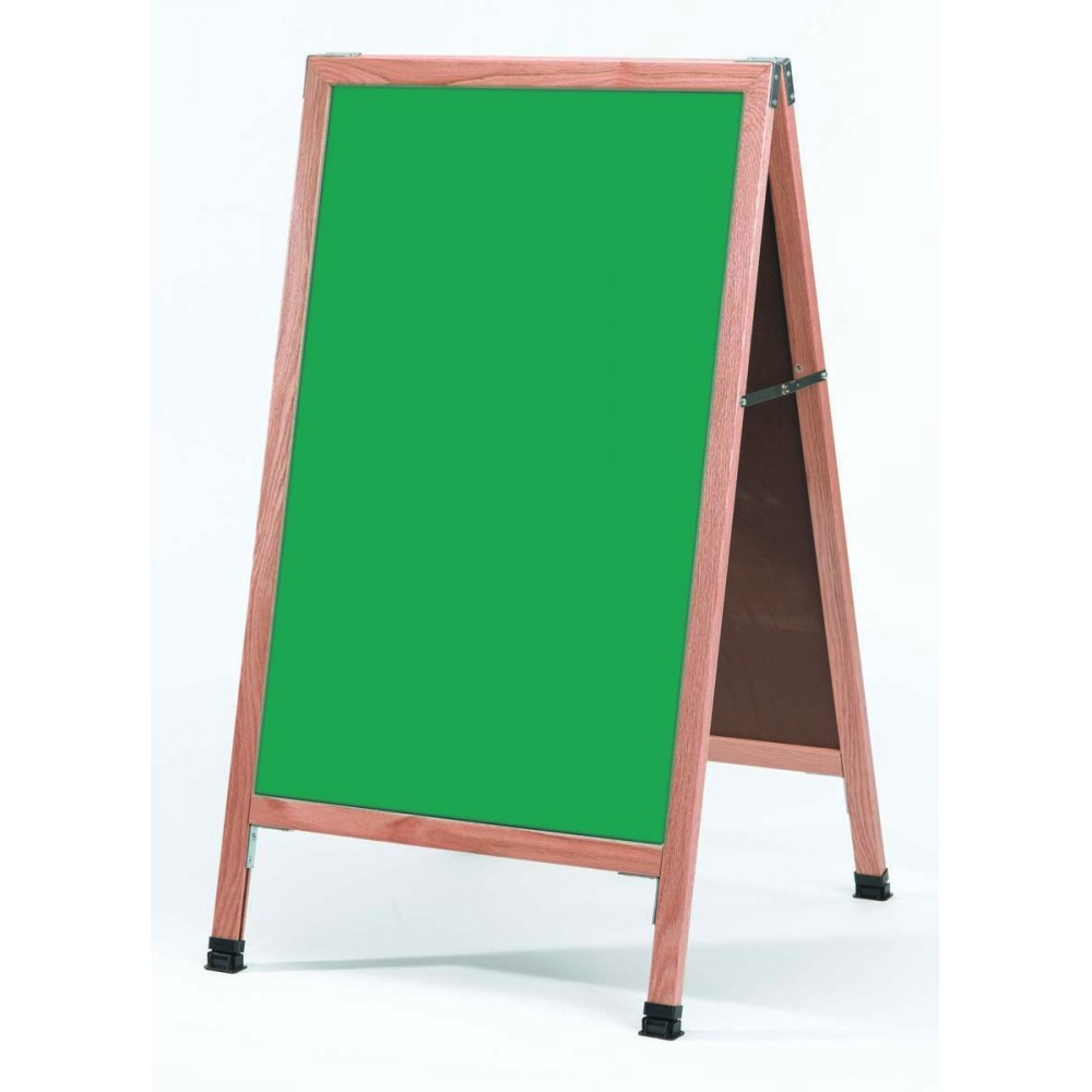 "Aarco Products A-1SG Solid Oak Wood A-Frame Sidewalk Green Porcelain Chalkboard- 42""H x 24""W"