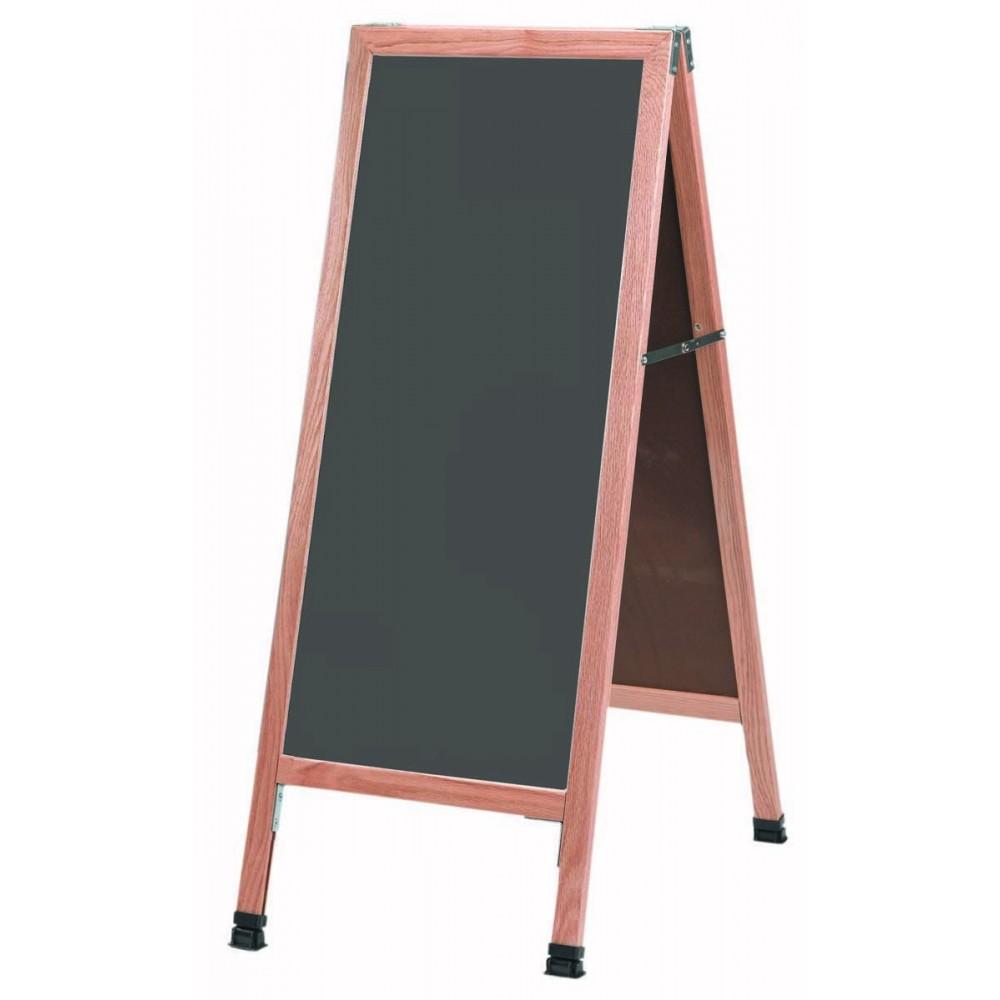 Solid Oak Wood A-Frame Sidewalk Slate Porcelain Chalkboard- 42