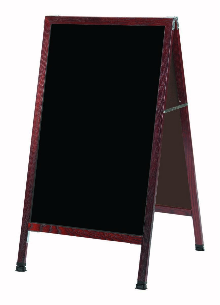 "Aarco Products MA-1B A-Frame Sidewalk Black Composition Chalkboard with Cherry Stained Solid Oak Frame, 24""W x 42""H"
