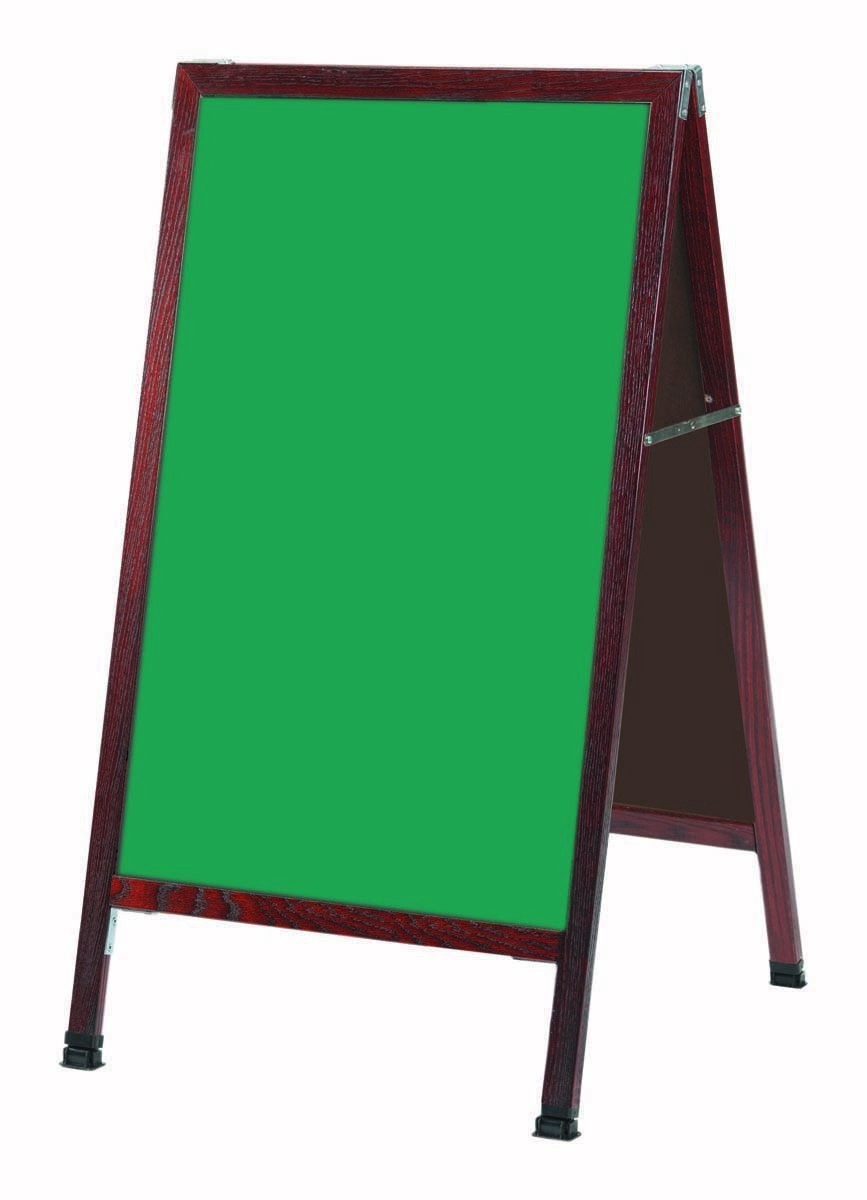 "Aarco Products MA-1G A-Frame Sidewalk Green Composition Chalkboard with Cherry Stained Solid Oak Frame, 24""W x 42""H"