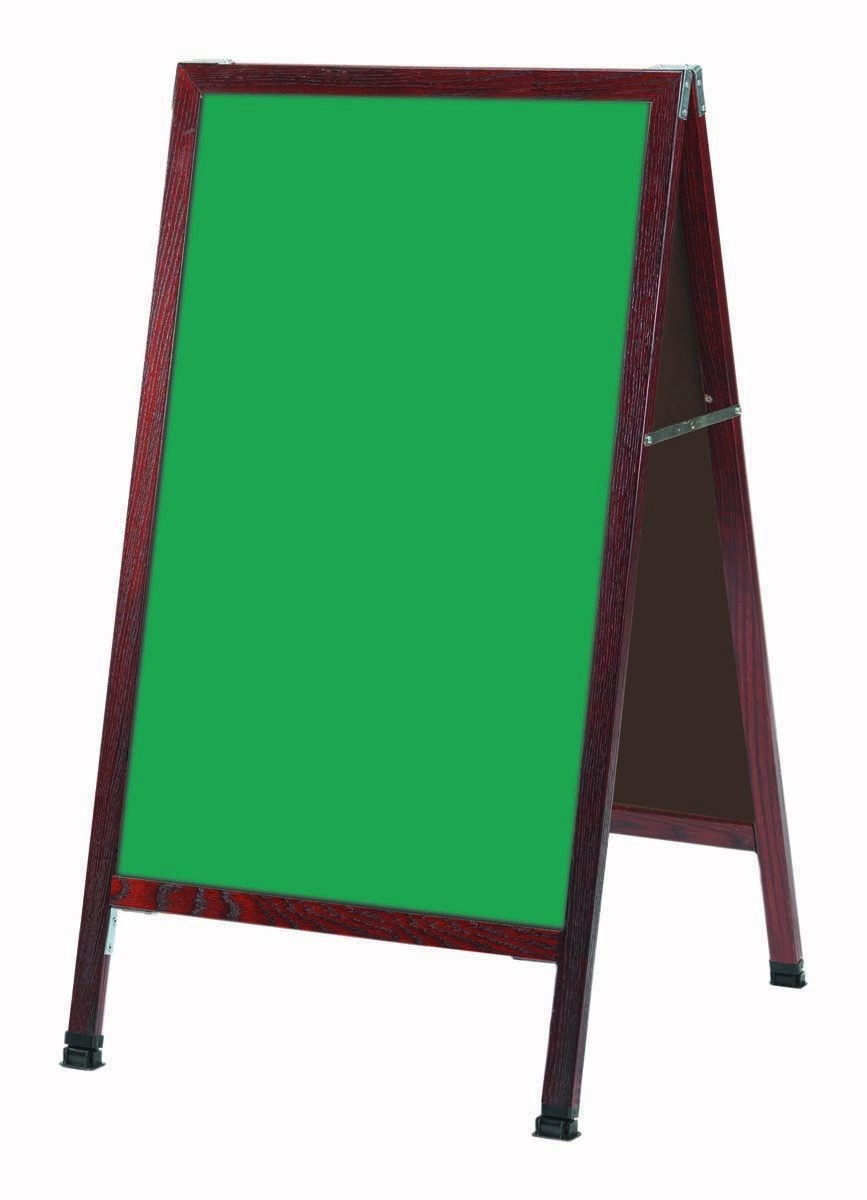 "Aarco Products MA-1SG A-Frame Sidewalk Green Porcelain Chalkboard with Cherry Stained Solid Red Oak Frame, 42""H x 24""W"