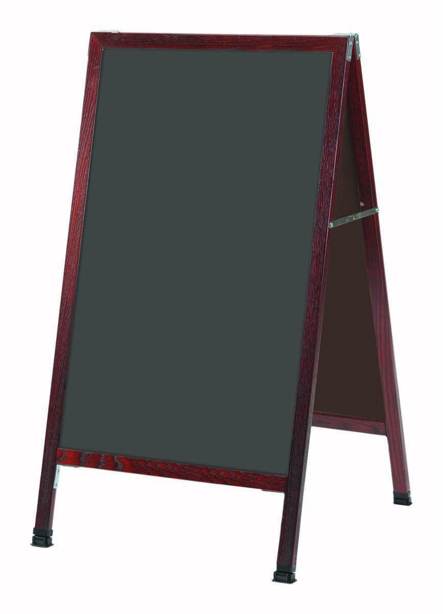 """Aarco Products MA-1SS A-Frame Sidewalk Slate Porcelain Chalkboard with Cherry Stained Solid Oak Frame, 24""""W x 42""""H"""
