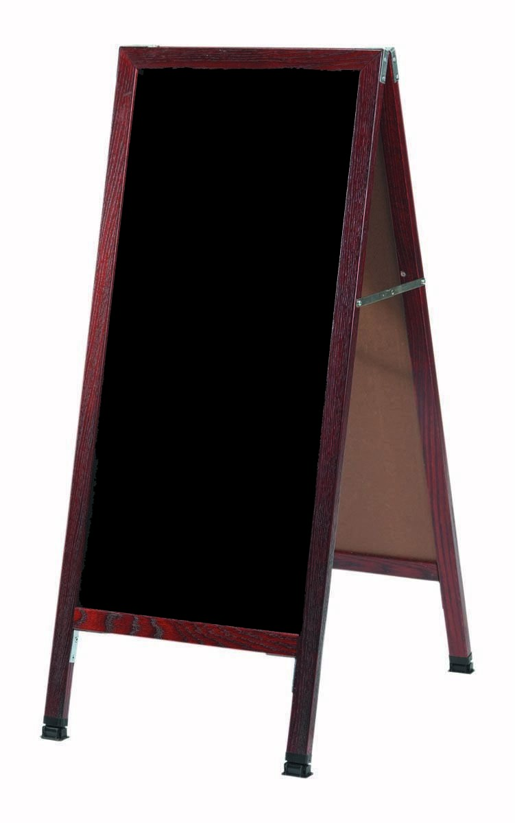 "Aarco Products MA-311SB A-Frame Sidewalk Black Porcelain Marker Board with Cherry Stained Solid Red Oak Frame, 42""H x 18""W"