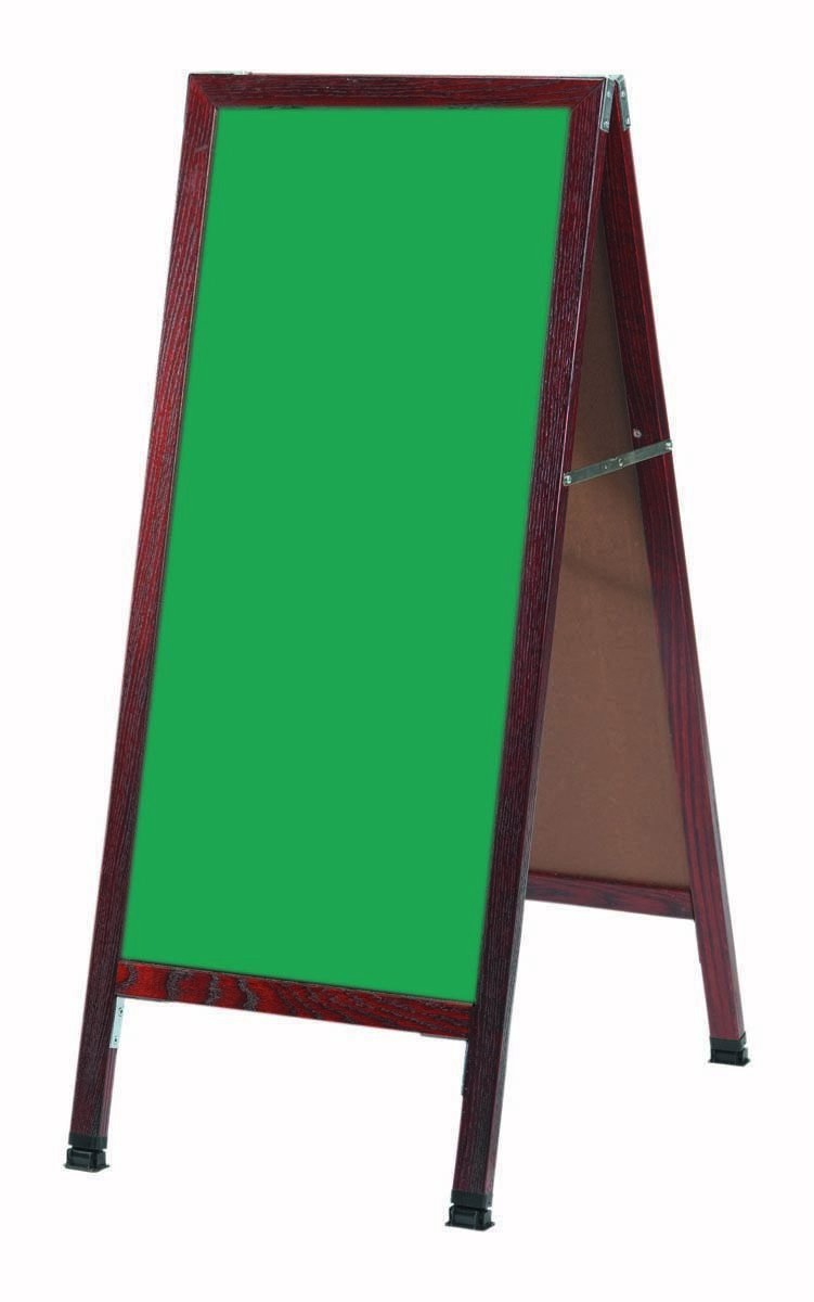 "Aarco Products MA-311SG A-Frame Sidewalk Green Porcelain Chalkboard with Cherry Stained Solid Red Oak Frame, 42""H x 18""W"