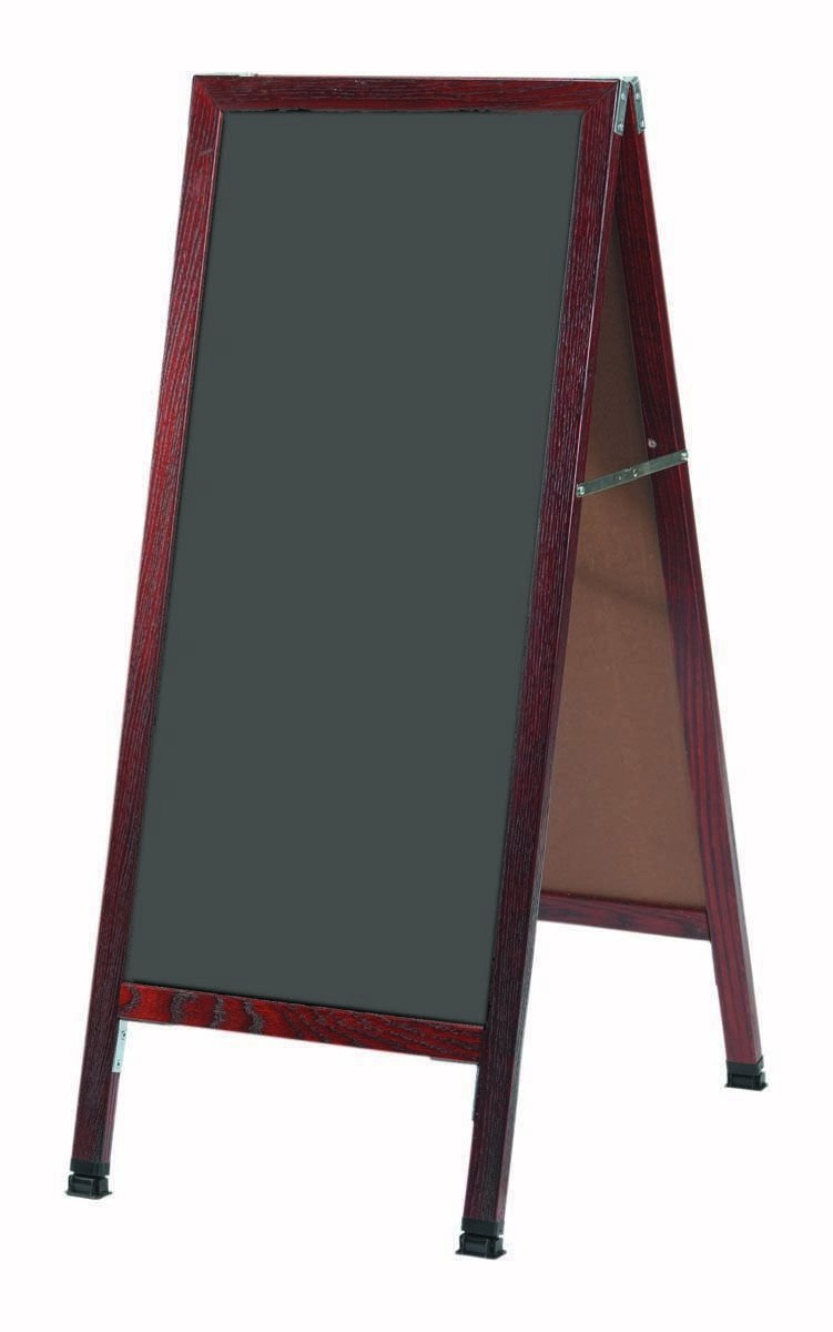 Solid Oak Wood W / Cherry Finish A-Frame Sidewalk Slate Porcelain Chalkboard- 42