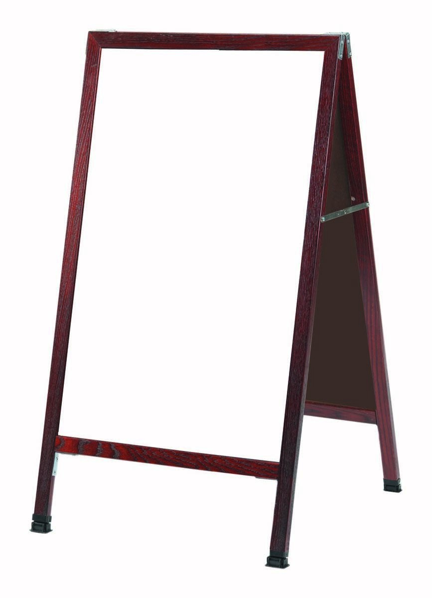 "Aarco Products MA-5SW A-Frame Sidewalk White Porcelain Marker Board with Cherry Stained Solid Red Oak Frame, 42""H x 24""W"