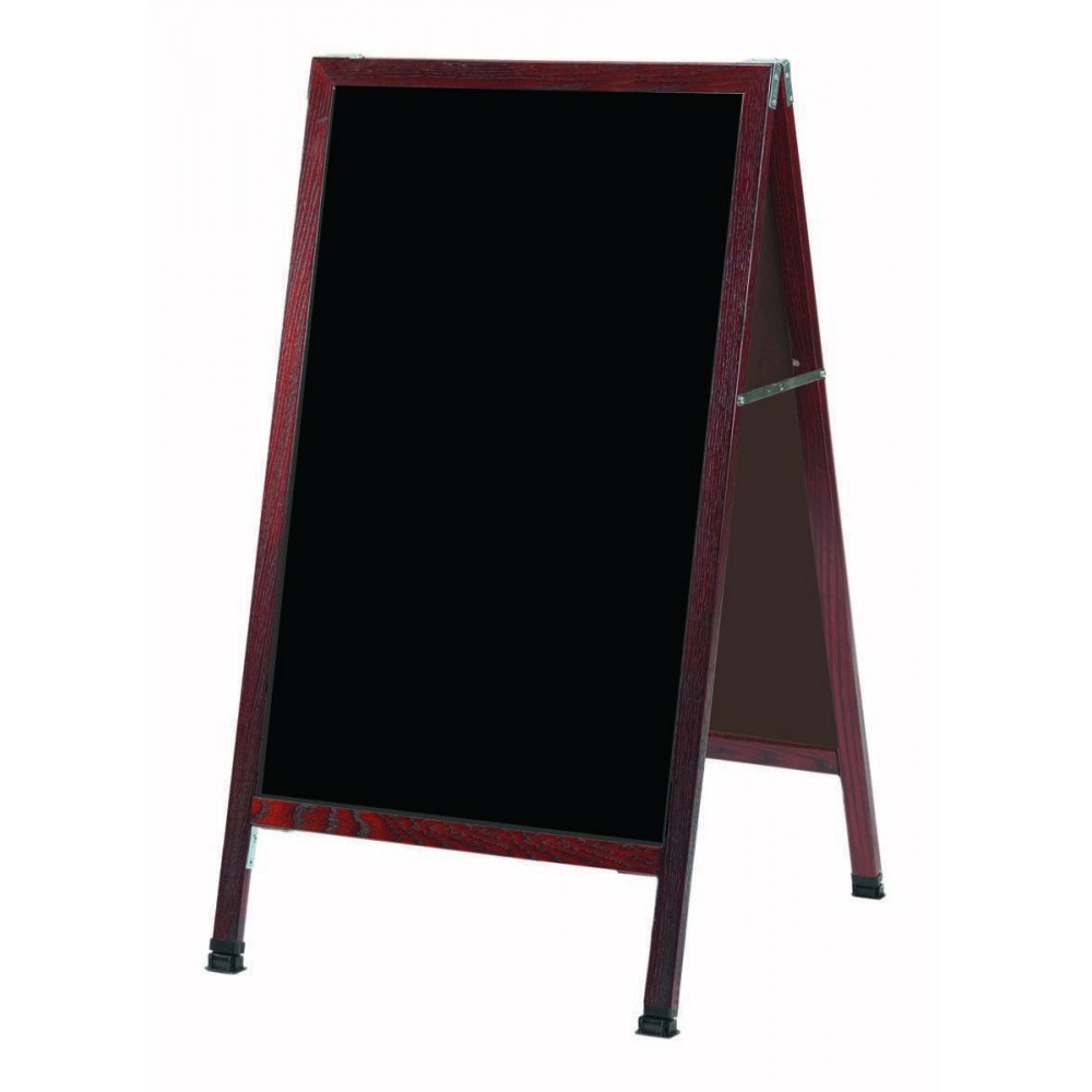 "Aarco Products MA-1B A-Frame Sidewalk Black Composition Chalkboard with Cherry Stained Solid Red Oak Frame, 42""H x 24""W"