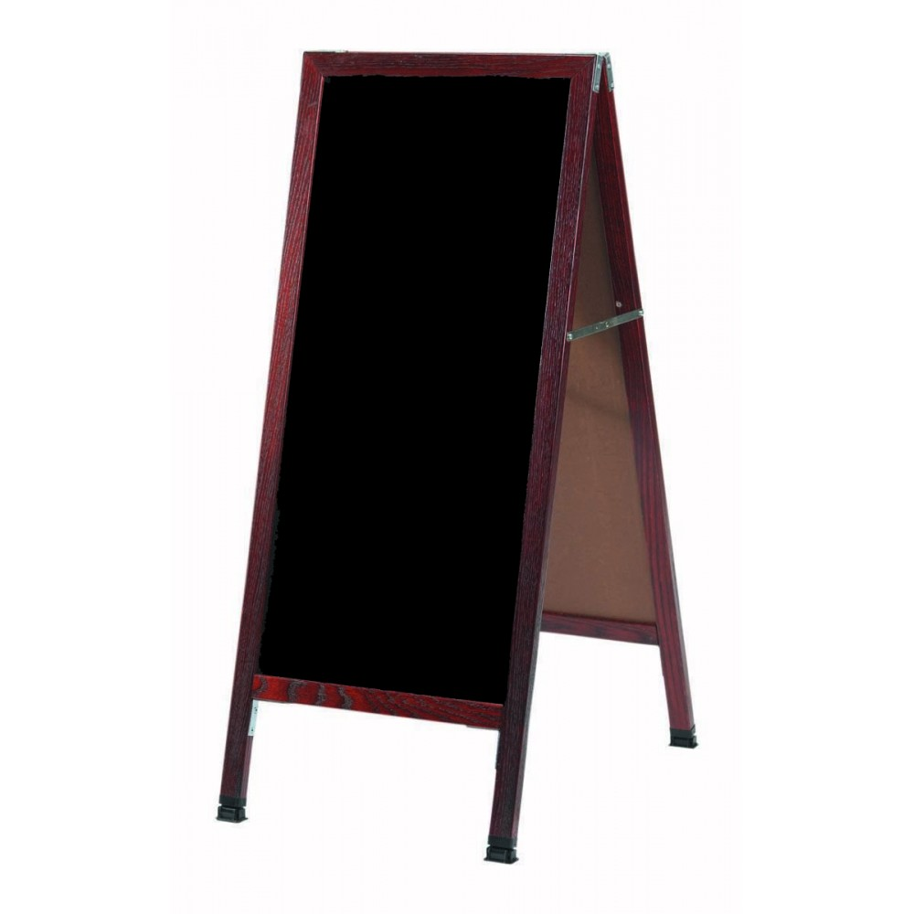 Solid Oak Wood W / Cherry Finish A-Frame Sidewalk Black Porcelain Markerboard- 42