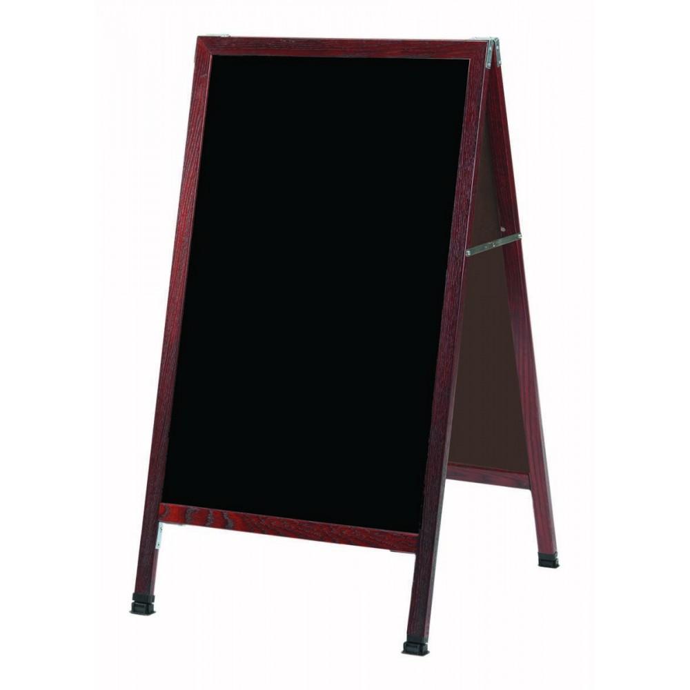Solid Oak Wood W / Cherry Finish A-Frame Sidewalk Black Porcelain Markerboard- 42