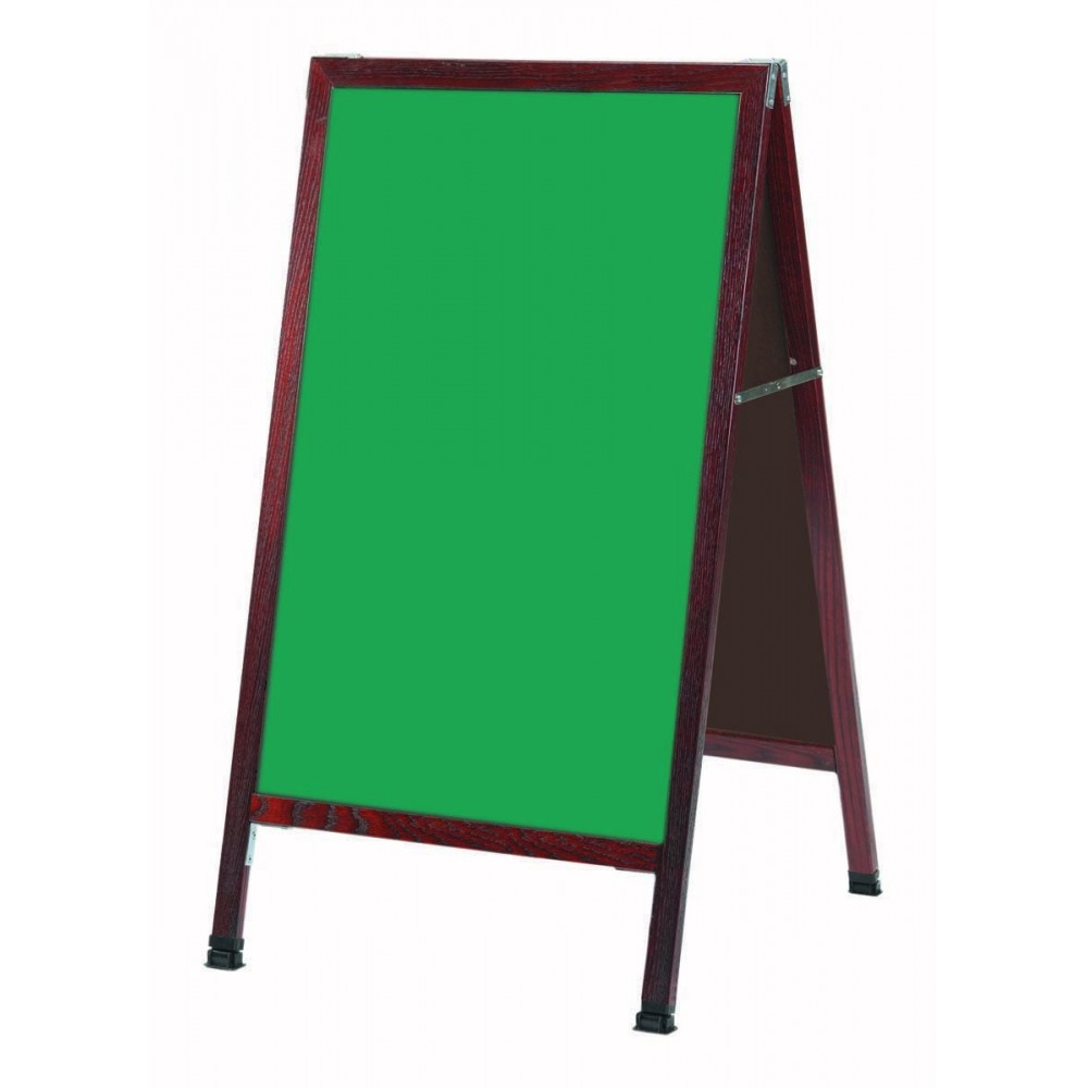 "Aarco Products MA-1G A-Frame Sidewalk Green Composition Chalkboard with Cherry Stained Solid Oak Frame, 42""H x 24""W"