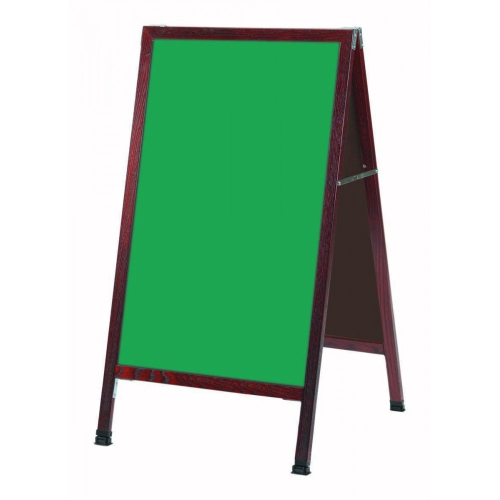Solid Oak Wood W / Cherry Finish A-Frame Sidewalk Green Porcelain Chalkboard- 42