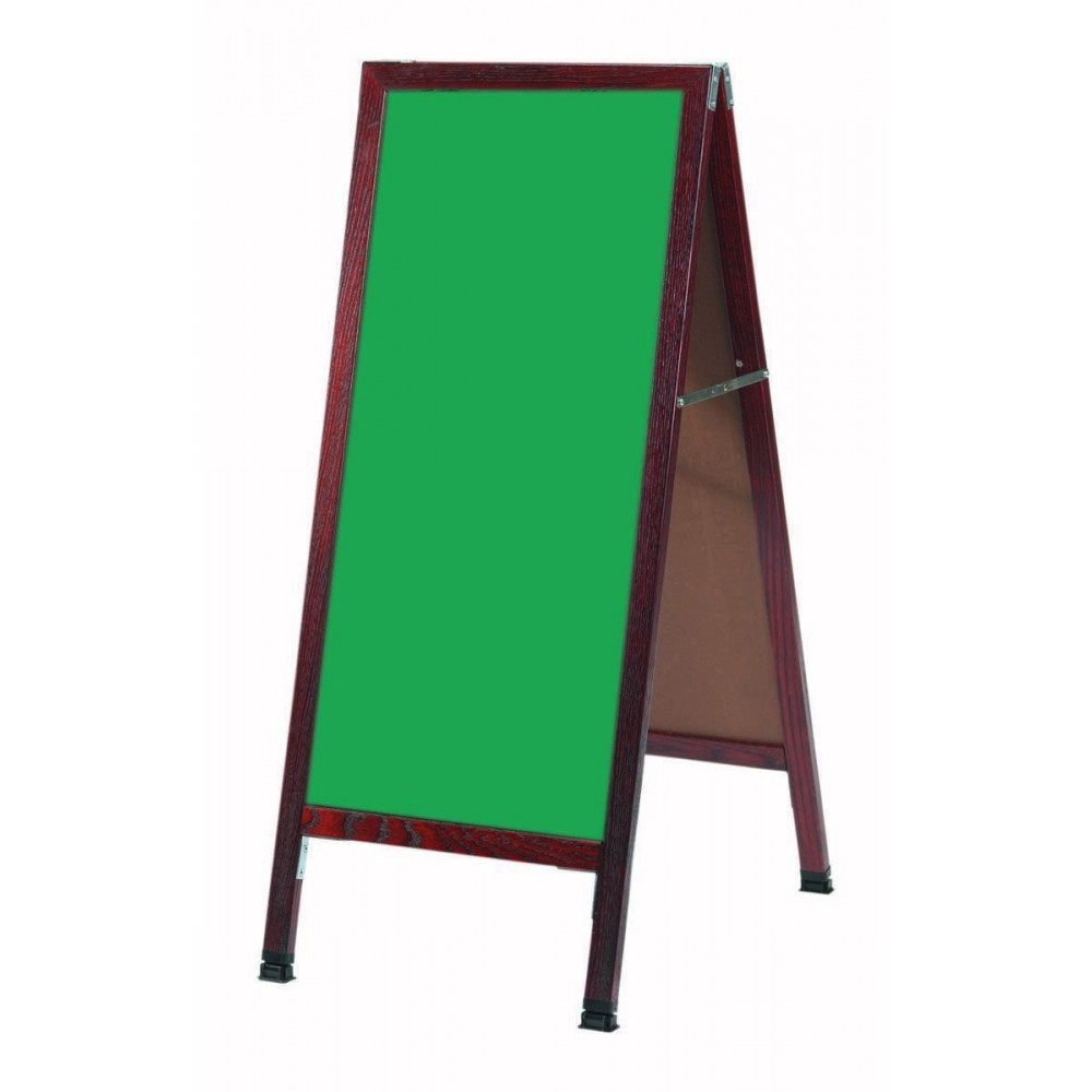 """Aarco Products MA-311SG A-Frame Sidewalk Green Porcelain Chalkboard with Cherry Stained Solid Red Oak Frame, 42""""H x 18""""W"""