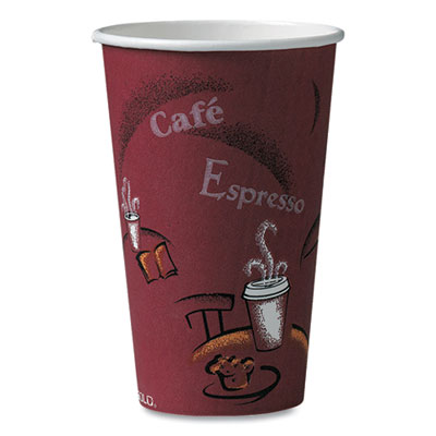 Solo Bistro Design Hot Drink Cups, Paper, 16oz, Maroon, 1000/Carton
