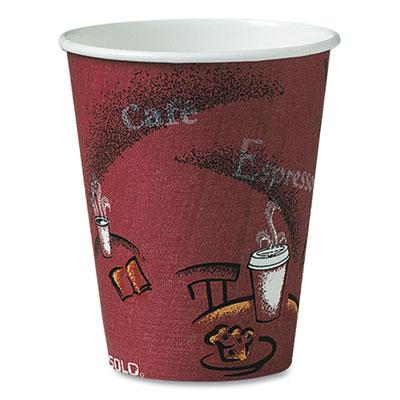Solo Bistro Design Hot Drink Cups, Paper, 8oz, Maroon, 50/Bag, 20 Bags/Carton
