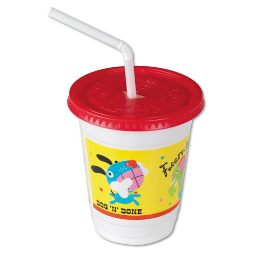 Solo Cup 12 Oz Plastic Kids Cup with Lid & Straw Critters Design (Box of 250)