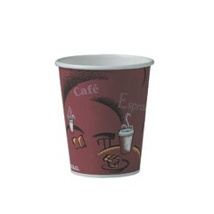 Solo Cup Bistro Polycoated Hot Paper Cup, 10 oz., Maroon, 50/Bag (Box of 1000)