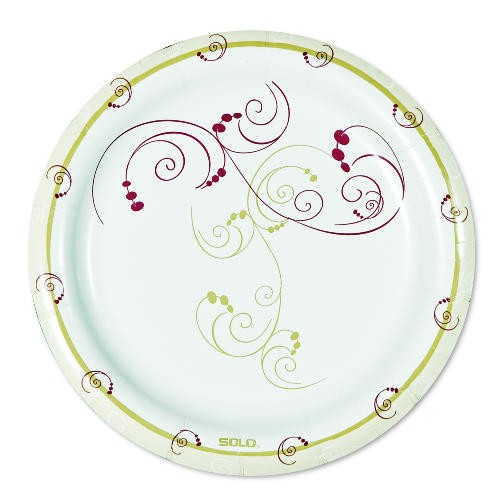 Solo Cup Clay-Coated Paper Plates, 8 1/2 in, Symphony Design, Round, Mediumweight, 125/Pk (Box of 500)