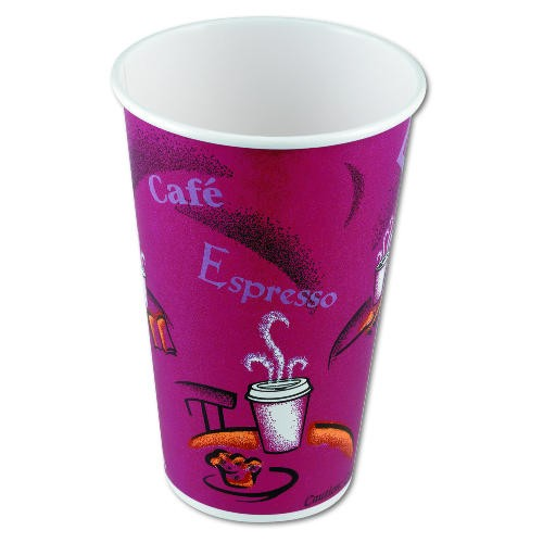Solo Cup Hot Drink Cups, Polylined Paper, 12 oz., Bistro Design, Maroon, 50/Bag (Box of 1000)