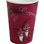 Solo Cup Hot Drink Cups, Polylined Paper, 10 oz., Bistro Design, Maroon, 25/Bag (Box of 300)
