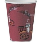Solo Cup Hot Drink Cups, Polylined Paper, 12 oz., Bistro Design, Maroon, 25/Bag (Box of 300)