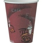 Solo Cup Hot Drink Cups, Polylined Paper, 8 oz., Bistro Design, Maroon, 25/Bag (Box of 500)