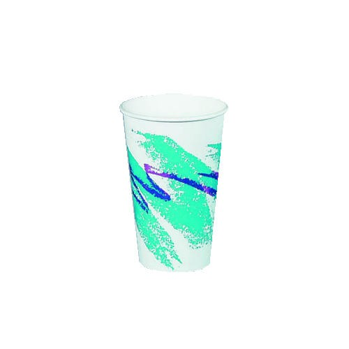 Solo Cup Jazz Hot Paper Cups, 16 oz., Polycoated, Jazz Design, White/Green/Purple, 50/Bag (Box of 20)