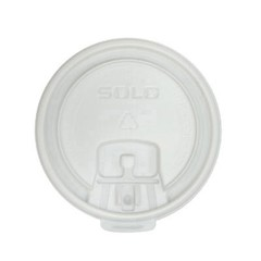 Solo Cup Lift Back & Lock Tab Cup Lids, 10oz Cups, White (Box of 2000)