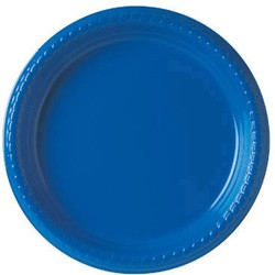 Solo Cup Plastic Plates, 9 Inches, Blue, Round, 25/Pack (Box of 500)