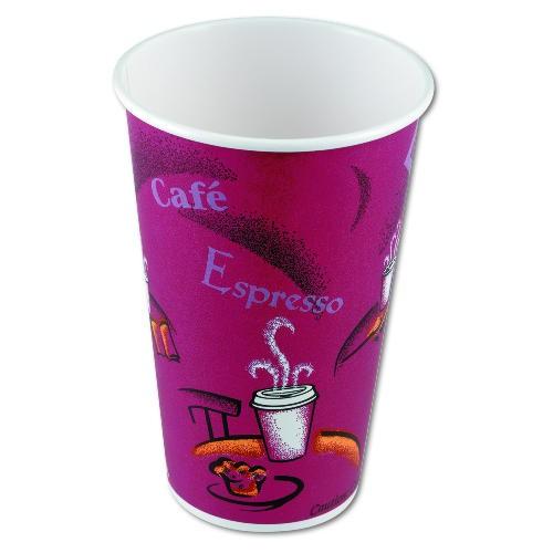 Solo Cup SOLO 16 Oz Paper Hot Cup - Bistro Design (Box of 1000)